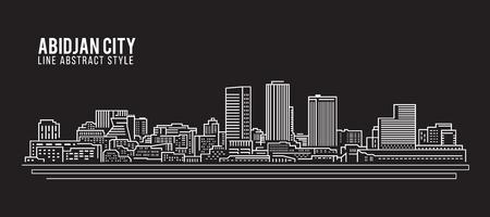 Paysage urbain art bâtiment ligne design Vector Illustration - ville Abidjan Banque d'images - 69777587