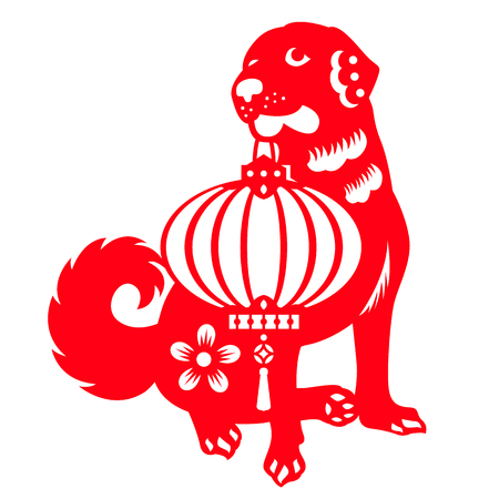 Red paper cut Dogs carrying Chinese lanterns  symbols vector design