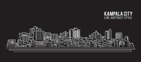 Cityscape Building Line kunst Vector illustratie ontwerp - Kampala stad