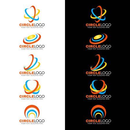 curved: 47595734 - yellow blue orange circle wave line logo vector design Stock Photo