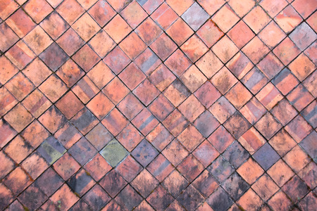 tiled: Terracotta tiles wall for abstract texture background Stock Photo