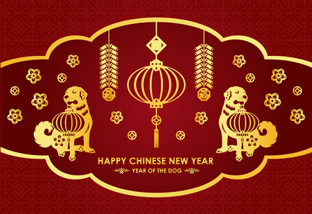 Happy Chinese new year card is  lanterns , firecracker , twin Gold dog and  Chinese word mean blessing Vectores