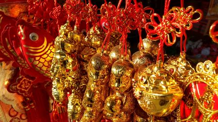 chinese knot: chinese knot in market for Chinese new year festival