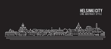 Cityscape Building Line art Vector Illustration design - Helsinki city Vector Illustration