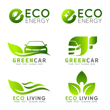 Green ECO logo met e letter, blad en auto vector set ontwerp Stock Illustratie