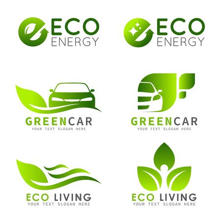 Zielone logo ECO z wzorem listu, liści i zestawu wektorów samochodów Logo