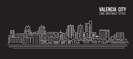 valencia: Cityscape Building Line art Vector Illustration design - Valencia city