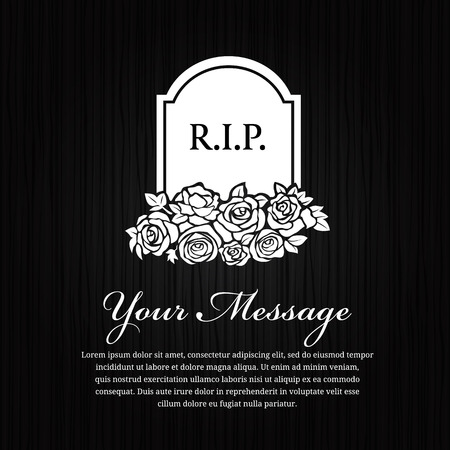condolence: Funeral card grave stone with RIP message and rose on black wood design.