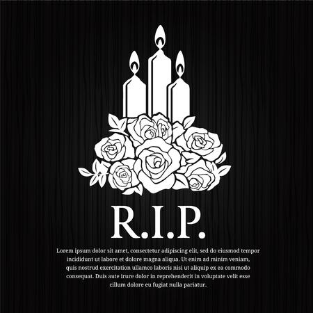 Funeral card - candle burning and rose sign on black wood vector design. Illustration
