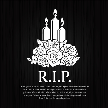 condolence: Funeral card - candle burning and rose sign on black wood vector design. Illustration