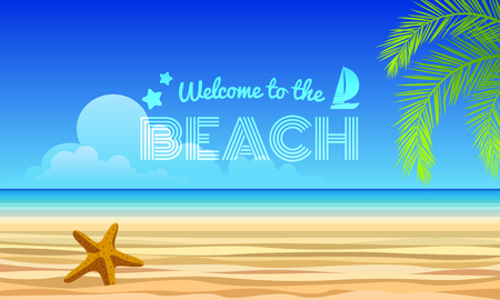 coconut leaves: welcome to the beach text - starfish on Sand and sea, coconut leaves abstract vector design