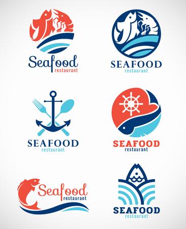 Visrestaurant en vis logo vector set ontwerp Stock Illustratie