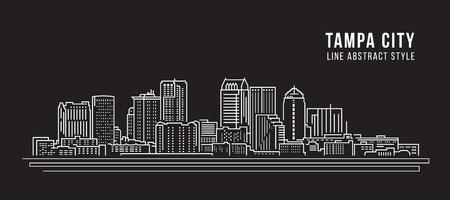 都市の景観建物ライン アート ベクトル イラスト デザイン - タンパ市