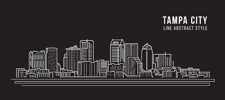 Cityscape Building Line art Vector Illustration design -  Tampa city Banco de Imagens - 72449353