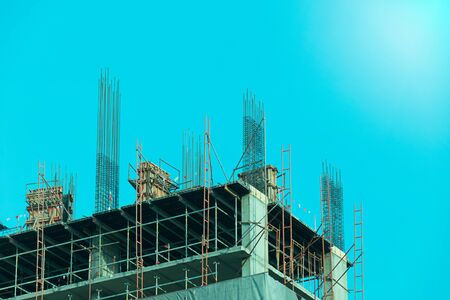 building structures: Construction - Steel Structures in building (blue filler style ) Stock Photo