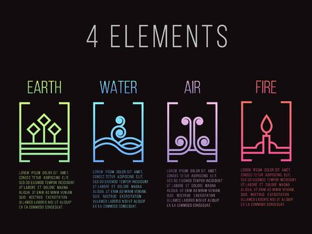 Nature 4 elements line border abstract gradient icon sign. Water, Fire, Earth, Air. on dark background.