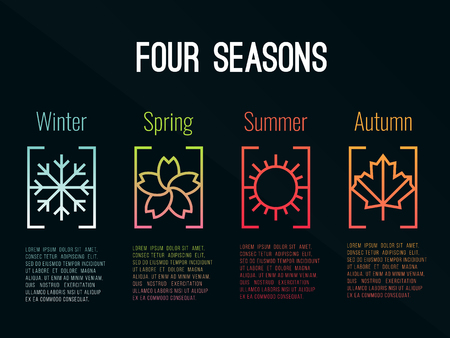4 seasons icon sign in border gradients  with Snow Winter , Flower Spring , Sun Summer and maple leaf  Autumn vector design