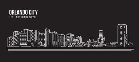 Cityscape Building Line art Design d'illustration vectorielle - Orlando city