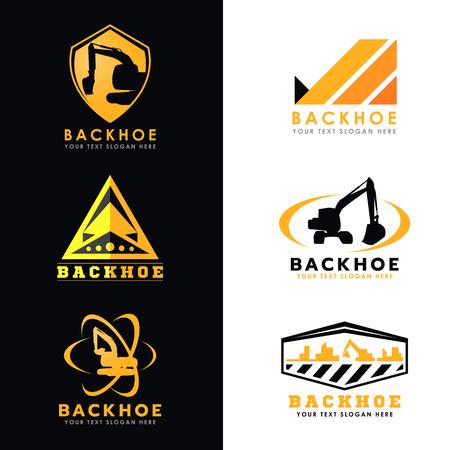 backhoe loader: Black and yellow backhoe logo vector set design Illustration