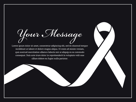condolence: Funeral card - White ribbon and place for text vector design Illustration
