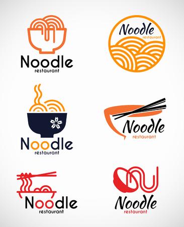 Noodle restaurant en voedsel logo vector ontwerp