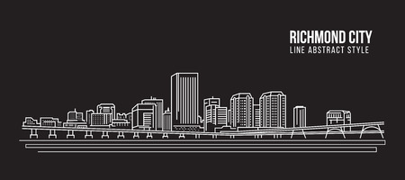 都市の景観建物ライン アート ベクトル イラスト デザイン - リッチモンド市