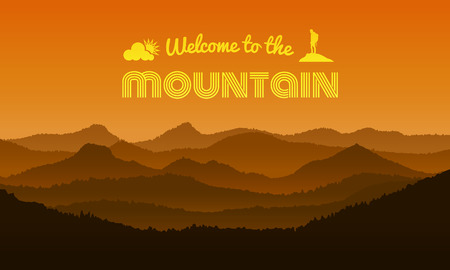welcome to the Mountain text on orange mountain layer abstract background vector design Illustration