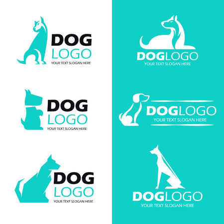 Dog sit logo , pet logo vector set design