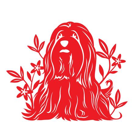 Red paper cut dog zodiac and flower vectore art design