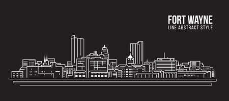 都市の景観建物ライン アート ベクトル イラスト デザイン - フォートウェイン市