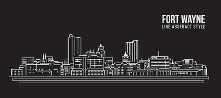 Stadtbild-Gebäude-Linie Kunst Vektor-Illustrationsdesign - Fort Wayne-Stadt Standard-Bild - 73171670