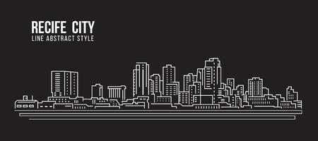 Cityscape Building Line art Vector Illustration design - Recife city