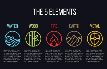 5 elementen van de natuur cirkel lijn icoon teken. Water, Hout, Brand, Aarde, Metaal. Op donkere achtergrond.