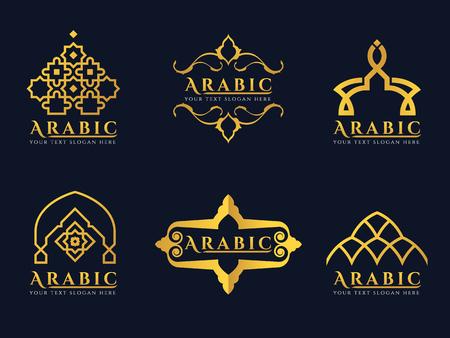 Gold Arabic doors and arabic architecture art logo vector set design 일러스트