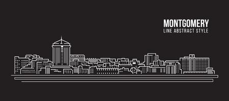 alabama: Cityscape Building Line art Vector Illustration design - Montgomery city