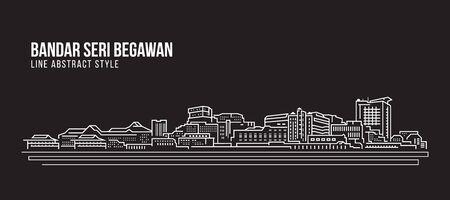 Allineamento dei fabbricati di paesaggio urbano progettazione dell'illustrazione di vettore di arte - città di Bandar Seri Begawan