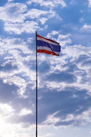 flagstaff: Thailand national flag staff and sky background