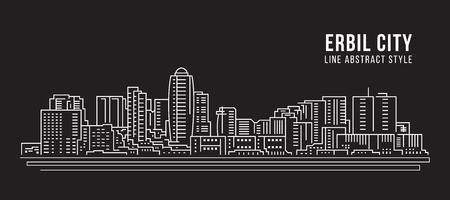 Paysage urbain, dessin au trait, illustration vectorielle - ville d'Erbil Vecteurs