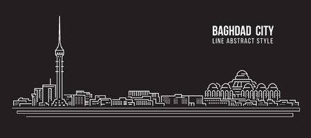 Cityscape Building Line art Vector Illustration design - Baghdad city