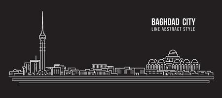Paisaje urbano Línea de construcción Ilustración vectorial diseño - ciudad de Bagdad