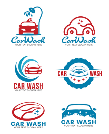 Red and blue Car wash service logo vector set design