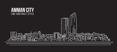 Cityscape Building Line art Vector Illustration design - Ville d'Amman