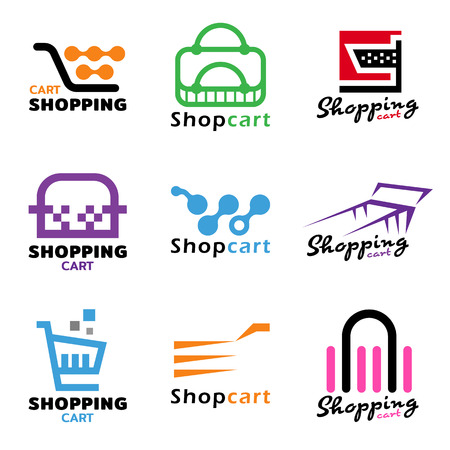 online logo: Shopping cart logo sign vector set design
