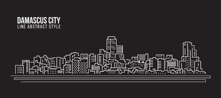 Paysage urbain, dessin au trait, illustration vectorielle - ville de Damas Vecteurs