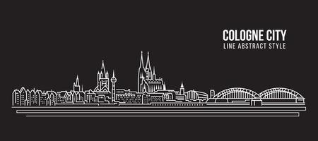 Stadtansicht von Gebäuden Linie Kunst Vektor-Illustration Design - Köln Stadt