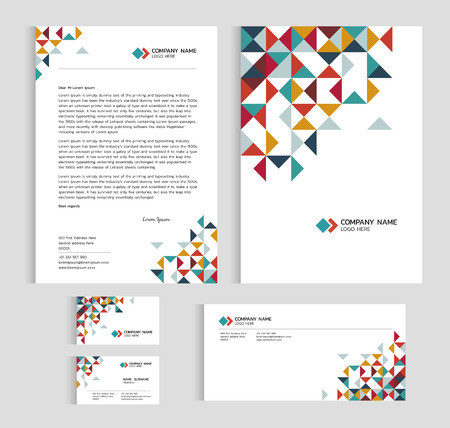 cover page: Layout template size A4 cover, page business card and letter - low poly triangle sharp abstract Vector set design