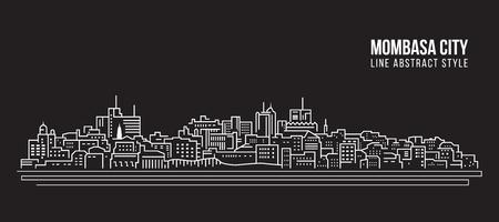Cityscape Building Line art Vector Illustration design - Mombasa city
