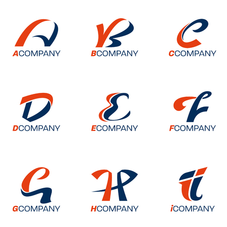 Orange and blue A, B, C, D, E, F, G, H, I letter logo vector set design