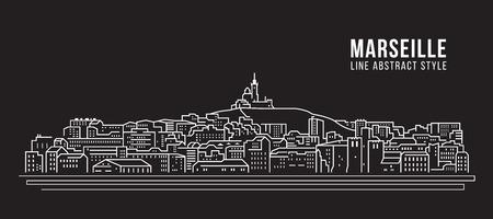 Cityscape Building Line art Vector Illustration design - Marseille city