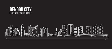 property of china: Cityscape Building Line art Vector Illustration design - Bengbu city Illustration